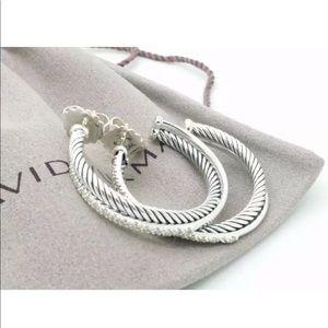 David Yurman 31mm Silver Diamond Hoop Earrings